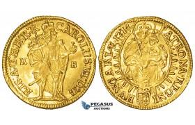 ZI93, Hungary, Karl VI, Ducat 1714 K-B, Kremnitz, Gold (3.48g) EF-UNC, Rare!