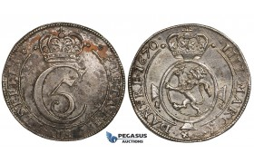 ZI96, Norway, Christian V, Krone (4 Mark) 1670 F-G, Christiania, Silver (20.69g) Spotted Toning, gVF