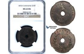 ZI98, Sarawak, C. Brooke Rajah, 1 Cent 1892-H, Heaton, NGC MS63BN