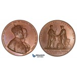 ZJ02, Sweden, Karl XV,  Bronze Medal 1860 (Ø57mm, 83.5g) by Ericsson, nn the crowning of Louise of Netherlands, UNC
