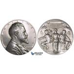 ZJ04, Sweden, Enskilda Bank, Silver Art Nouveau Medal 1911 (Ø63mm, 129g) by E. Lindberg, K. A. Wallenberg, Stockholm, aUNC