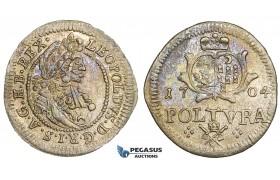 ZJ05, Transylvania, Leopold I, Poltura 1704, Hermannstadt, Silver (1.02g) Toned EF
