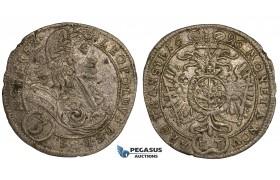 ZJ07, Transylvania, Leopold I, 3 Kreuzer 1696 FT, Hermannstadt, Silver (1.43g) gVF