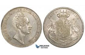 ZJ13, Sweden, Oscar I, Riksdaler Specie 1848 AG, Stockholm, Silver, SM 29, Lustrous EF (Edge knock)