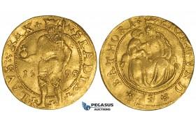 ZJ15, Transylvania, Sigismund Bathori, Ducat 1594, Nagybanya, Gold (3.48g) gVF (Bold strike)