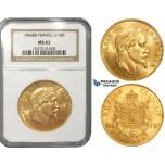 ZJ25, France, Napoleon III, 100 Francs 1866-BB, Strasbourg, Gold, NGC MS63, Rare!