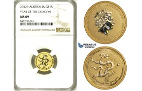 ZJ33, Australia, Lunar Dragon 15 Dollar 2012-P, Perh, 1/10 Oz.999, Gold, NGC MS69