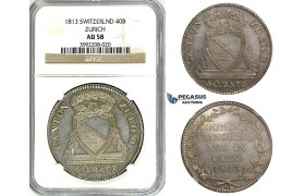 "ZJ38, Switzerland, Zurich, 40 Batzen (Neutaler) 1813, Silver, No accent on ""U"" from ZÜRICH, NGC AU58, Rare!"