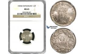 ZJ39, Switzerland, 1/2 Franc 1905-B, Bern, Silver, NGC MS65