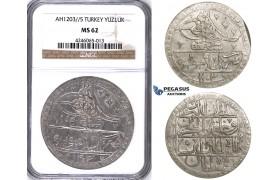 ZJ43, Ottoman Empire, Turkey, Selim III, Yuzluk AH1203/5, Islambul (Istanbul) NGC MS62
