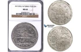 ZJ45, Ottoman Empire, Turkey, Selim III, Yuzluk AH1203/14, Islambul (Istanbul) NGC MS62