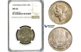 ZJ53, Bulgaria, Boris III, 50 Leva 1934, Silver, NGC MS62