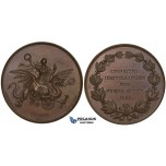 ZJ57, Denmark, Christian IX, Bronze Medal 1865 (Ø45mm, 52.6g) by Schmahlfeld and Peters, On the Industrial Exposition on Fyn, Brown UNC