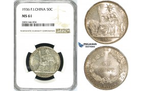 ZJ63, French Indo-China, 50 Centimes 1936, Paris, Silver, NGC MS61
