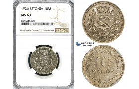 ZJ65, Estonia, 10 Marka 1926, NGC MS63, Pop 1/0, Finest! Extremely Rare!