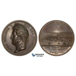 ZJ79, France, Louis Philippe, Bronze Medal 1844 (Ø68mm, 178g) by Bovy, Le Havre Harbor, Ships