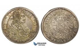 ZJ99, Hungary, Leopold, 1/2 Taler 1699-KB, Kremnitz, Silver (14.00g) Toned VF-EF