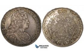 ZK01, Hungary, Karl VI, Taler 1737-KB, Kremnitz, Silver (28.78g) Toned and Lustrous