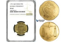 ZK02, India, Bombay Presidency, Pice 1791, Gilt Bronze, NGC PF62