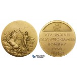 ZK03, India, Gilt Bronze Medal 1950 (Ø52mm, 55.8g) Indian Olympic Games, Winners, UNC