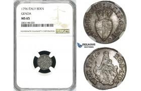 ZK04, Italy, Genoa, 8 Denari 1796, Silver, NGC MS65, Pop 1/0, Finest!