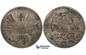 ZK06, Mexico, 8 Reales 1891 Ga JB, Guadalajara, Silver, Chopmarks & Counterstamp, VF