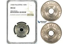 ZK09, Palestine, 10 Mils 1940, NGC MS62