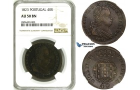 ZK14, Portugal, Joao VI, 40 Reis (Pataco) 1823, Lisbon, NGC AU50BN