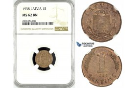 ZK52, Latvia, 1 Santims 1938, NGC MS62BN