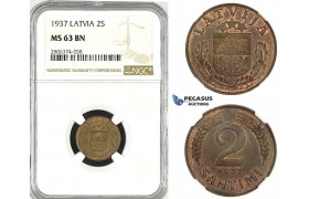ZK53, Latvia, 1 Santimi 1937, NGC MS63BN