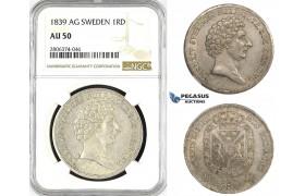 ZK56, Sweden, Carl XIV, Riksdaler Species 1839 AG, Stockholm, Silver, NGC AU50