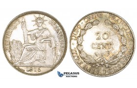 ZK70, French Indo-China, 20 Centimes 1916-A, Paris, Silver, AU-UNC (Light cleaning)
