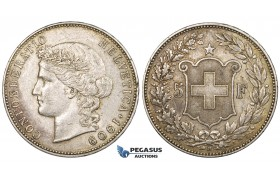 ZK78, Switzerland, 5 Francs 1909-B, Bern, Silver, Toned VF-XF