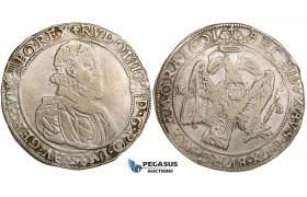 ZK80, Hungary, Rudolph II, Taler 1601 KB, Kremnitz, Silver (28.15g) F-VF