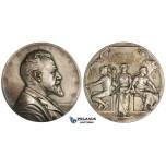 ZK87, Sweden, Enskilda Bank, Silver Art Nouveau Medal 1911 (Ø63mm, 129g) by E. Lindberg, K. A. Wallenberg, Stockholm, Toned aUNC
