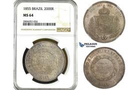 ZK99, Brazil, Pedro II, 2000 Reis 1855, Silver, NGC MS64