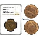 ZL10, France, Third Republic, 10 Centimes 1888-A, Paris, NGC MS64RB