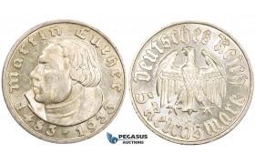 "ZL82, Germany, Third Reich, 5 Reichsmark 1933-D ""Martin Luther"" Silver, UNC PL fields, few marks!"