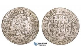 ZM09, Denmark, Christian IV, 2 Skilling 1603, Silver (1.66g) H 79A, VF
