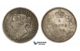 ZM177, Canada, Victoria, 5 Cents 1880-H, Heaton, Silver, Dark Toned VF