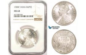 ZM181, India (British) Victoria, Rupee 1900-C, Calcutta, Silver, NGC MS64, Blast white!