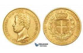 ZM182, Italy, Sardinia, Carlo Alberto, 20 Lire 1842-P Anchor, Genoa, Gold, gVF