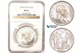 ZM183, Italy, Vittorio Manuele III, 20 Lire 1927-R,  A. VI, Rome, Silver, NGC MS65, Blast white gem!