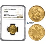 ZM207, France, Napoleon III, 20 Francs 1862-A, Paris, Gold, NGC MS63