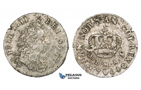 ZM480, Denmark, Frederik IV, 8 Skilling 1704 DMA, Copenhagen, Silver, F-VF