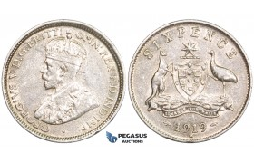 ZM727, Australia, George V, Sixpence (6P) 1919-M, Melbourne, Silver, Nice XF