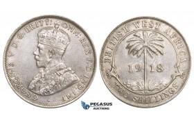 ZM729, British West Africa, George V, 2 Shillings 1918, London, Silver, Lustrous AU-UNC