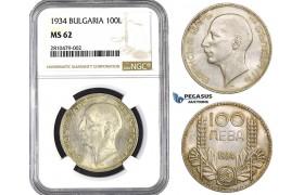 ZM730, Bulgaria, Boris III, 100 Leva 1934, Silver, NGC MS62