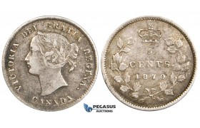 ZM731, Canada, Victoria, 5 Cents 1870, Silver, Toned VF
