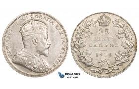 ZM735, Canada, Edward VII, 25 Cents 1910, Silver, AU (some marks)